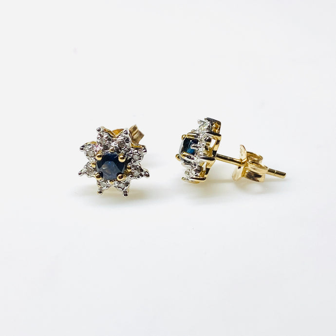 9ct Gold Sapphire & Diamond Stud Earrings