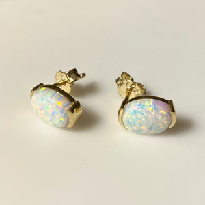 9ct Gold Opalique Oval Stud Earrings