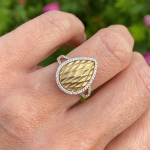 9ct Yellow Gold Waffle & Diamond Ring