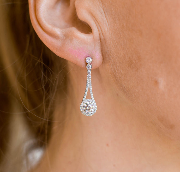 Silver CZ Halo Drop Earrings
