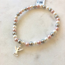 Load image into Gallery viewer, Kids CZ Angel Stretch Pearl Bracelet