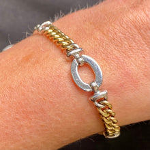 Load image into Gallery viewer, 9ct Gold Two Tone Curb and Oval Link Bracelet