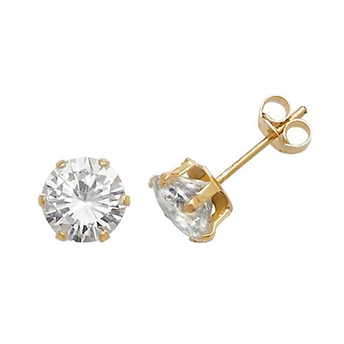 9ct Gold Claw-set 6mm CZ Earrings