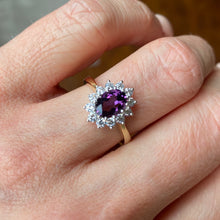 Load image into Gallery viewer, 9ct Gold Amethyst & CZ Oval Cluster Ring 9ct yellow gold Size O Other sizes available to order