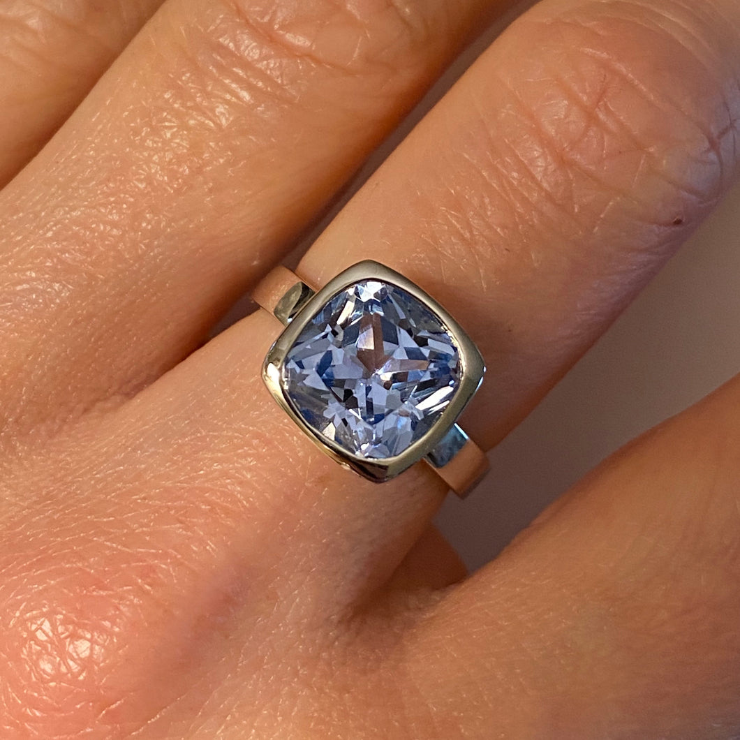 Silver Sky Blue CZ Ring