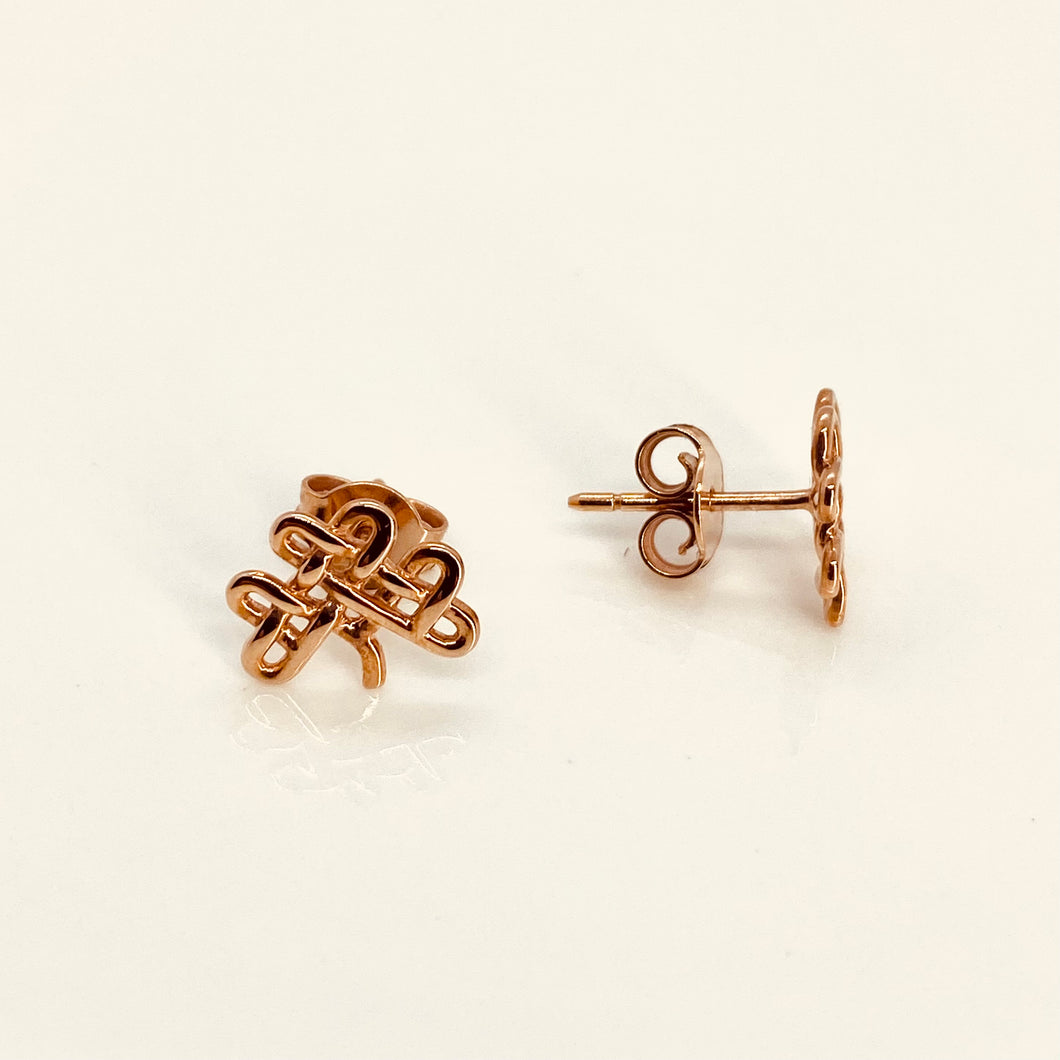 9ct Rose Gold Celtic Shamrock Stud Earrings