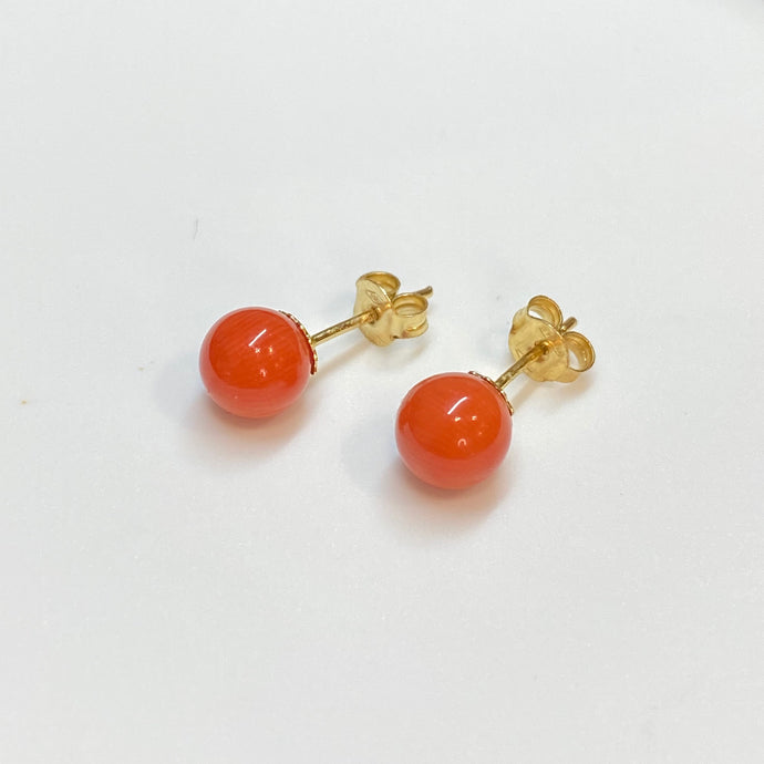 18ct Gold Red Coral Ball Stud Earrings