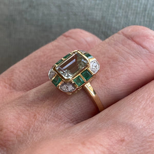 9ct Gold Green Amethyst, Emerald & Diamond Ring