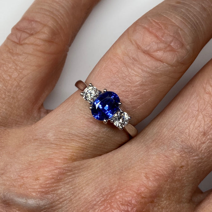 18ct White Gold Sapphire & Diamond Trilogy Ring