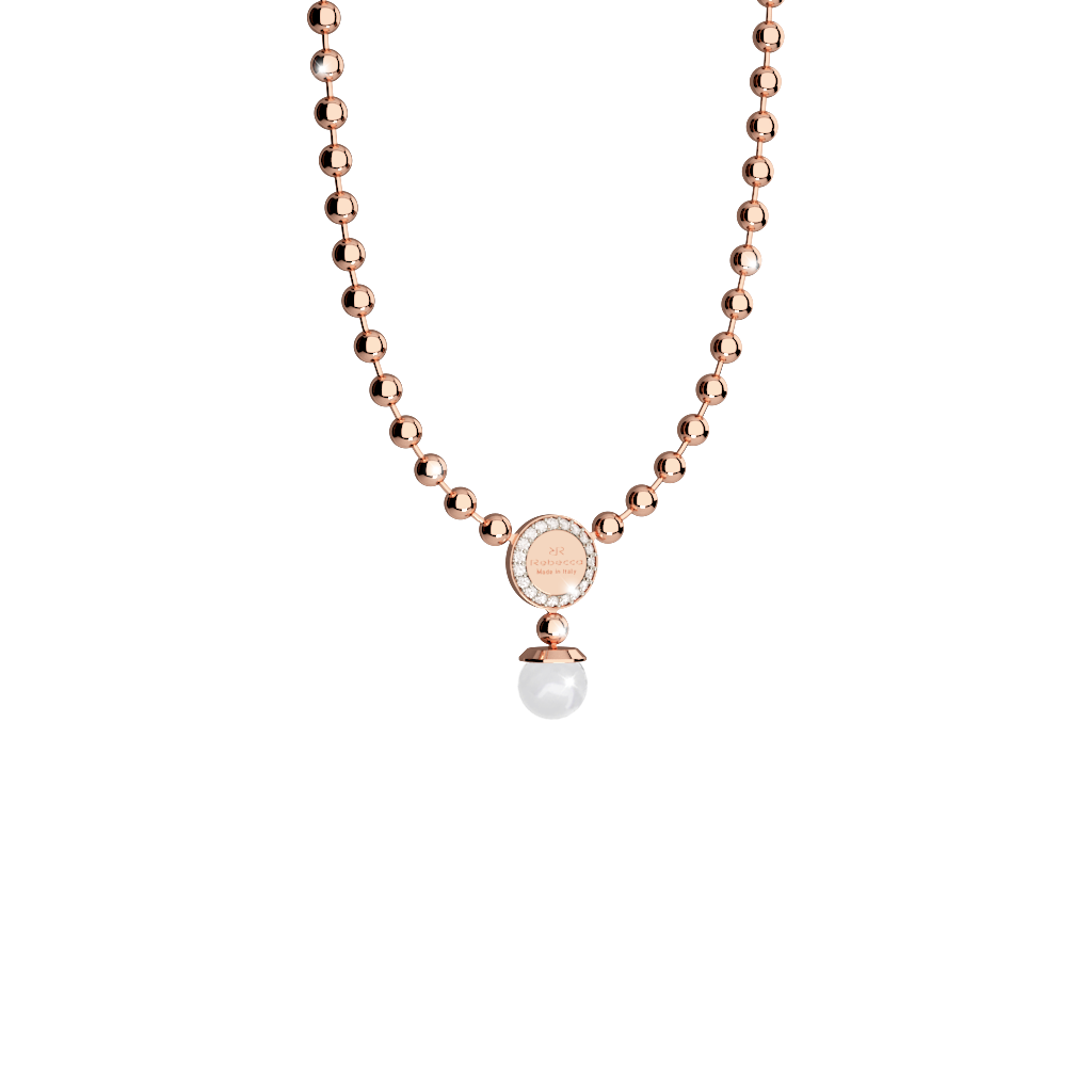 REBECCA Boulevard Pearl Necklace- Rose