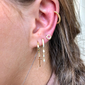 Ear Candy GP Trilogy CZ Huggie Earrings