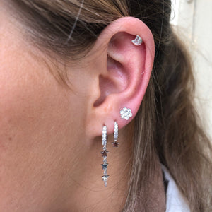 Ear Candy Star Chain CZ Huggie Earring