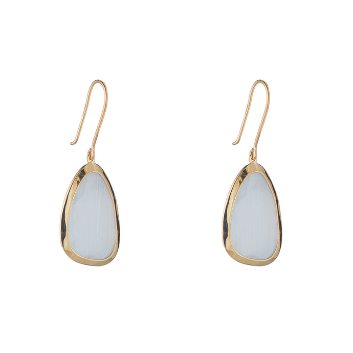 9ct Gold Grey Cat Eye Drop Earrings