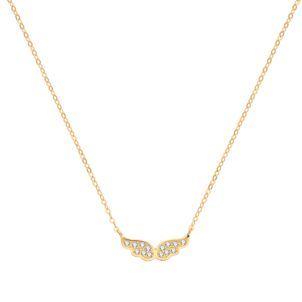 9ct Gold CZ Angel Wings Necklace