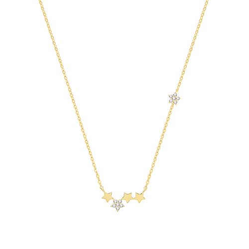 9ct Gold Star Cluster Necklace