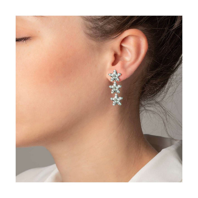 Victoria Cruz Snowflake Drop Earrings