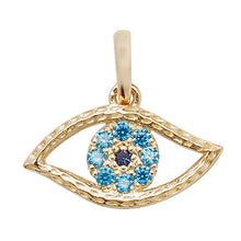 Load image into Gallery viewer, 9ct Gold Evil Eye CZ Pendant