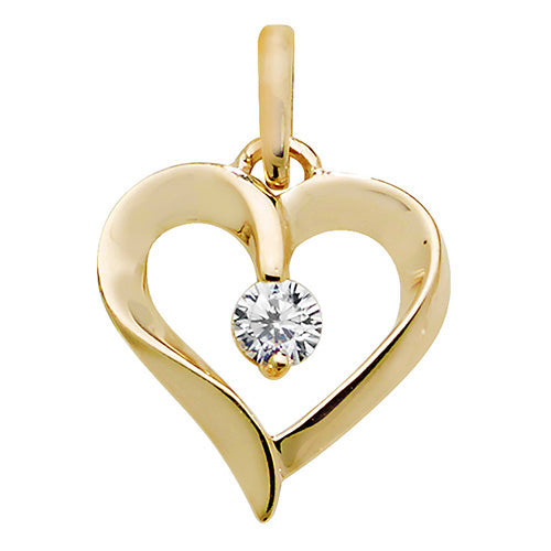 9ct Gold Heart with CZ Pendant