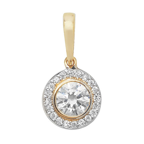 9ct Gold CZ Halo Pendant
