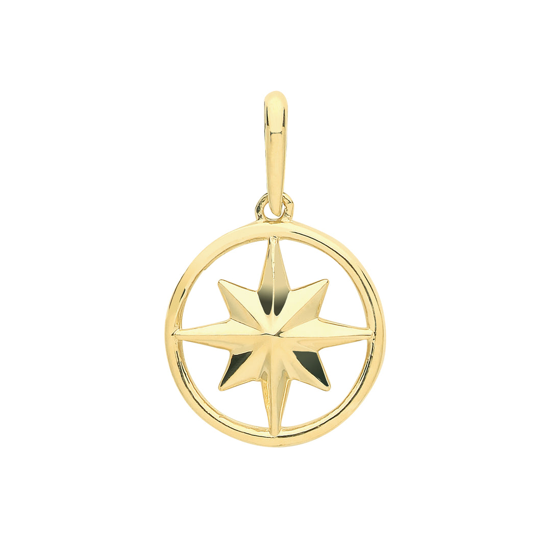9ct Gold Compass Rose Pendant