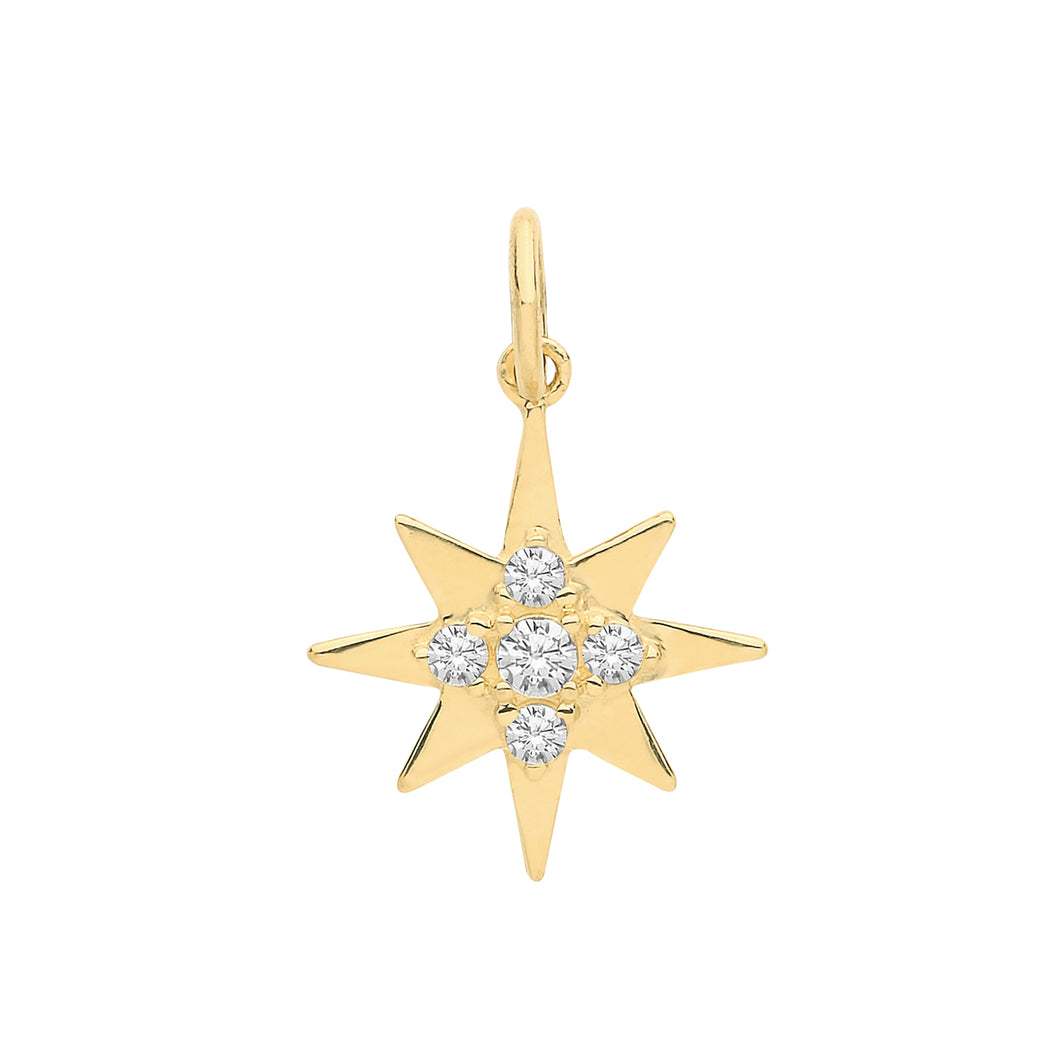 9ct Gold Compass Star Pendant