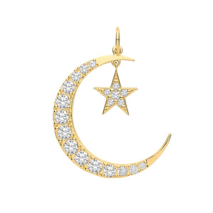 9ct Gold Crescent Moon and Star Pendant