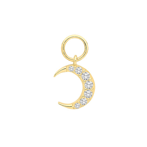 Ear Candy 9ct Gold CZ Crescent Earring Charm
