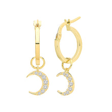 Load image into Gallery viewer, Ear Candy 9ct Gold CZ Crescent Earring Charm