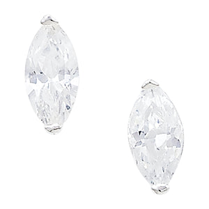 Silver Marquis CZ Set Stud Earrings
