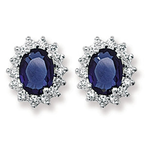 Silver Navy & CZ Oval Cluster Earrings