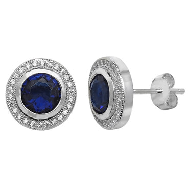 Silver Navy CZ Round Halo Stud Earrings