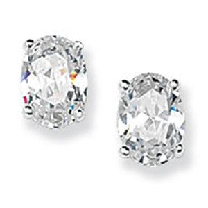 Silver Oval CZ Set Stud Earrings