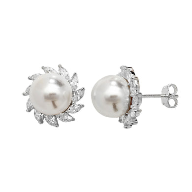 Silver CZ Simulated Pearl Stud Earrings 925 silver set with marquis cut CZs and a single pearl in each stud earring. Butterfly backs Synthetic pearls 15mm diameter