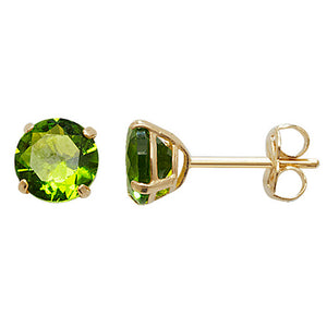 9ct Gold Peridot Stud Earrings