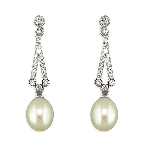 Silver CZ Vintage Pearl Drop Earrings