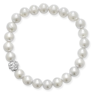 Kids Crystal Ball Stretch Pearl Bracelet