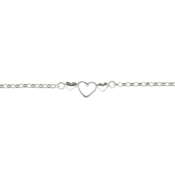 Kids Silver Three Hearts Bracelet
