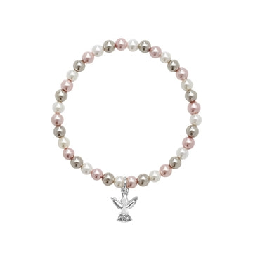 Silver CZ Angel Stretch Pearl Bracelet