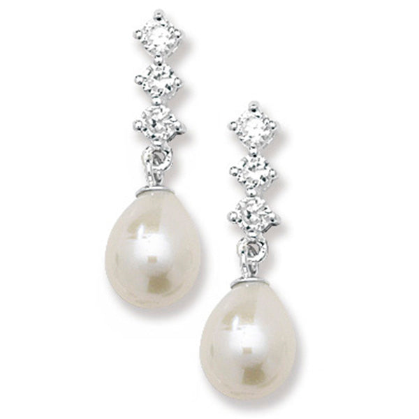 Silver CZ & Freshwater Pearl Drop Earrings