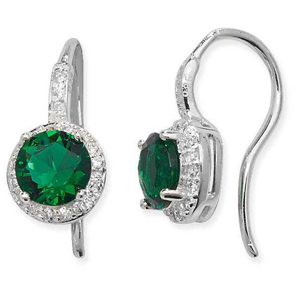 Silver Green & CZ Round Cluster Drop Earrings