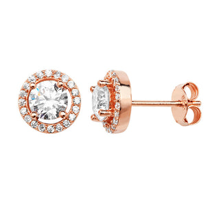 Rose CZ Halo Stud Earrings
