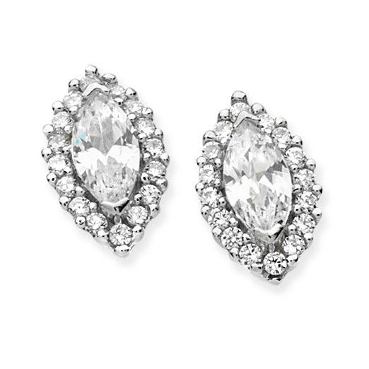 Silver CZ Marquis Halo Stud Earrings 925 silver set with CZs. Butterfly backs. Size: H 12mm x W 7mm