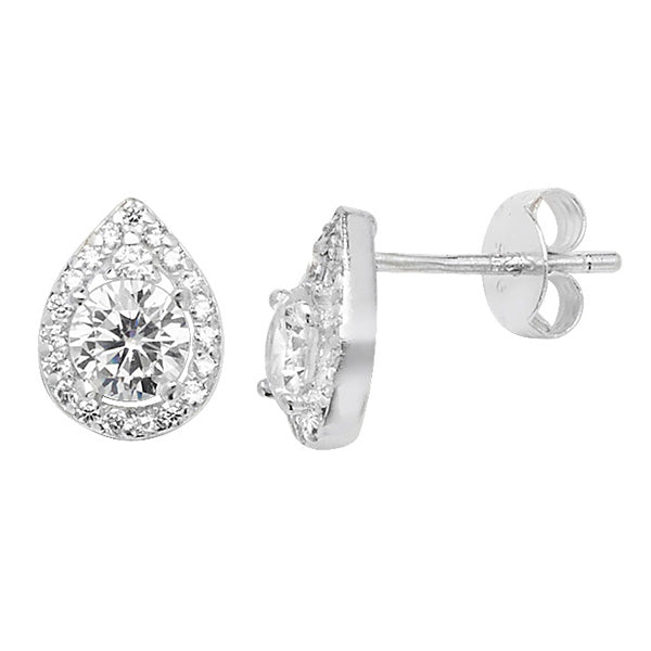 Silver CZ Pear Look Halo Stud Earrings