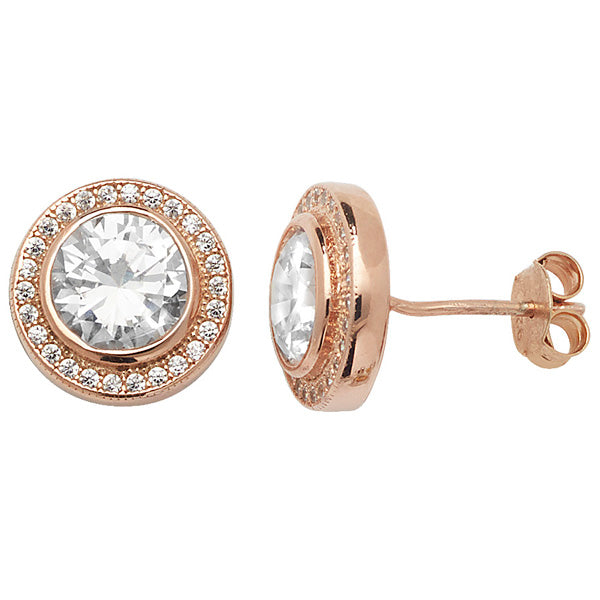 Rose CZ Round Halo Stud Earrings