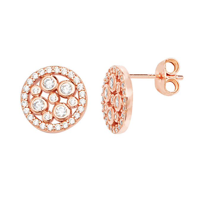 Rose CZ Round Stud Earrings