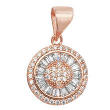 Load image into Gallery viewer, Rose Silver CZ Halo Pendant Necklace