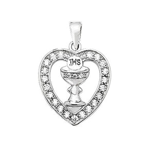 Kids Silver Heart-shaped CZ Communion Necklace