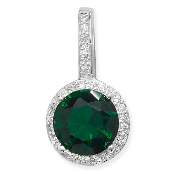 Silver Green & CZ Halo Pendant Necklace