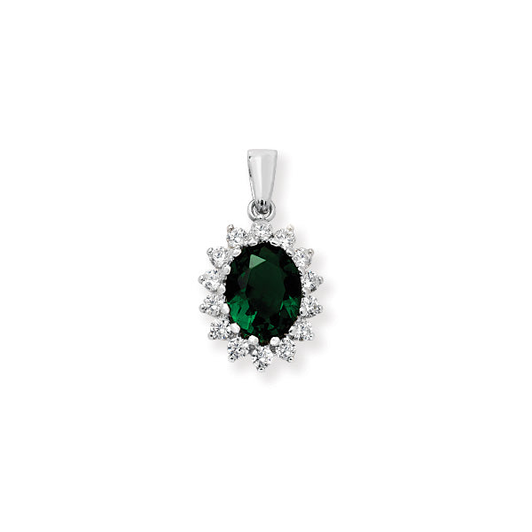 Silver Green & CZ Cluster Pendant Necklace