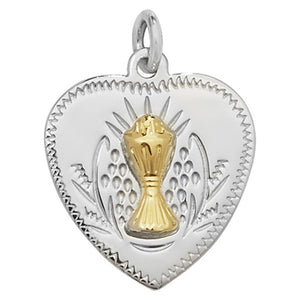 Silver Heart-shaped Communion Medal & Chain